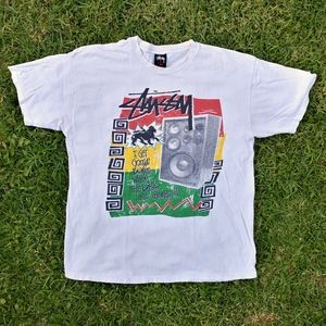 Vintage 90s Stussy Rasta Graphic T-Shirt Large